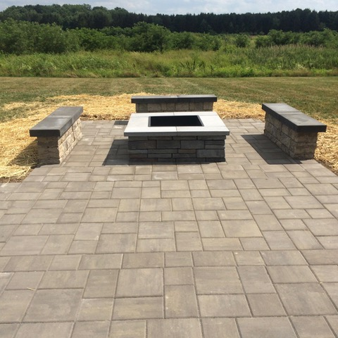 Paver patio with fire pit (after)